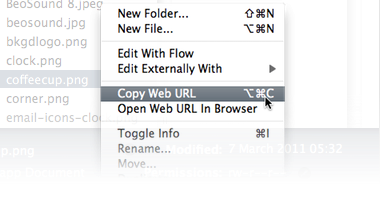 Copy Urls via the context menu